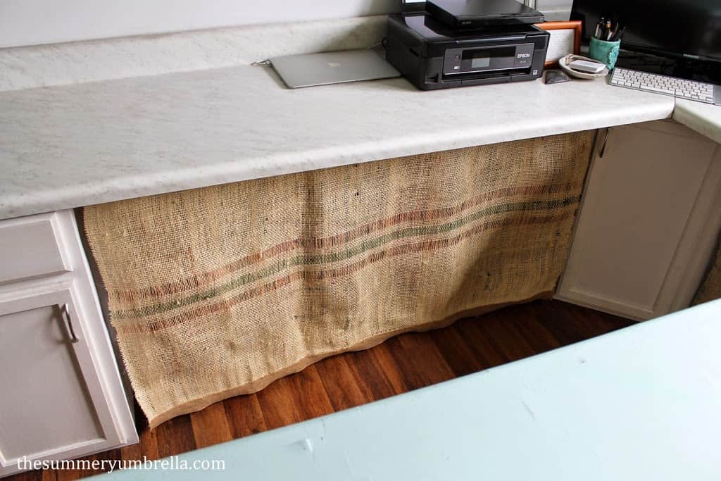 DIY burlap bag desk skirt