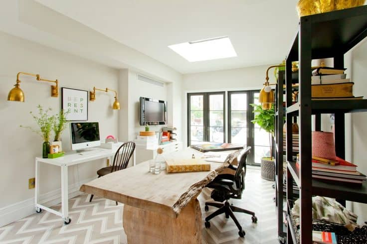 "After 0140. When Genevieve Gorder renovated her Manahttan home, she turned an old empty room and out of date bathroom into her home office/ bathroom. Not only is it a great room to work in filled with light, but serves as a great place for a bath after work. As seen on HGTV's, ""Gen's Ren"""